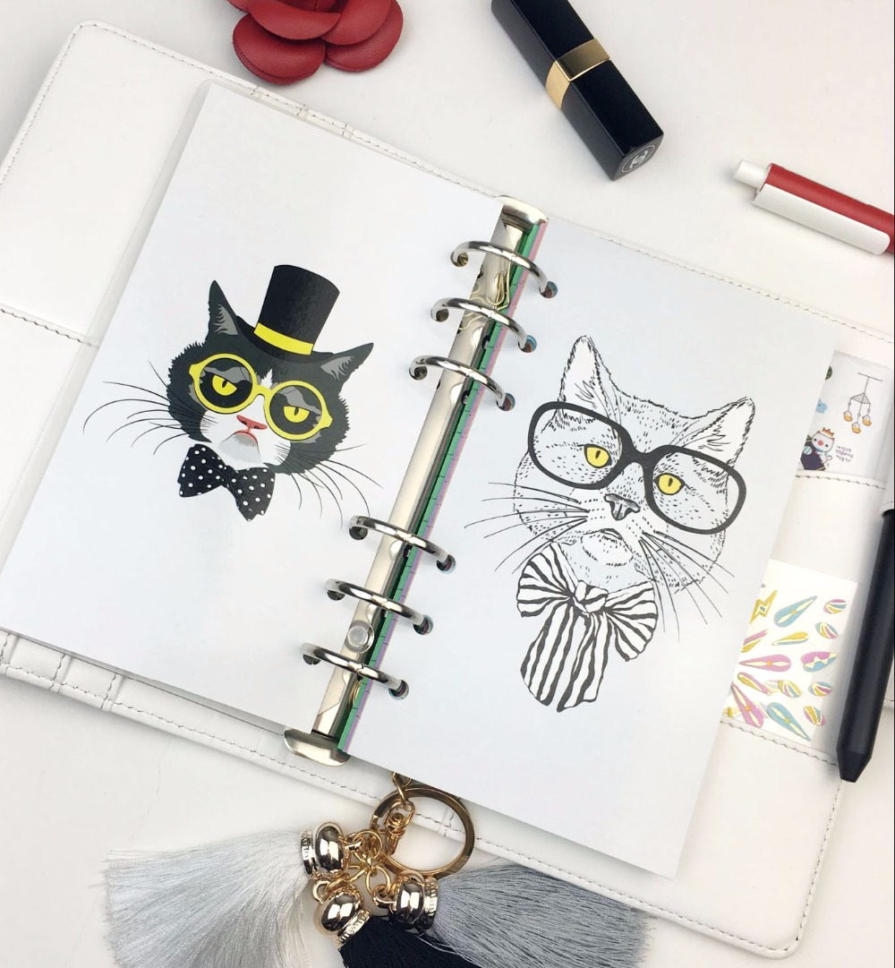 Filofax Divider Separate Page Cat Lion in Glass Creative Match for 6 Holes Loose Leaf Notebook Agenda Planner harphia 3 colors divider craft separate page white simple but good match for 6 holes loose leaf notebook agenda planner filofax