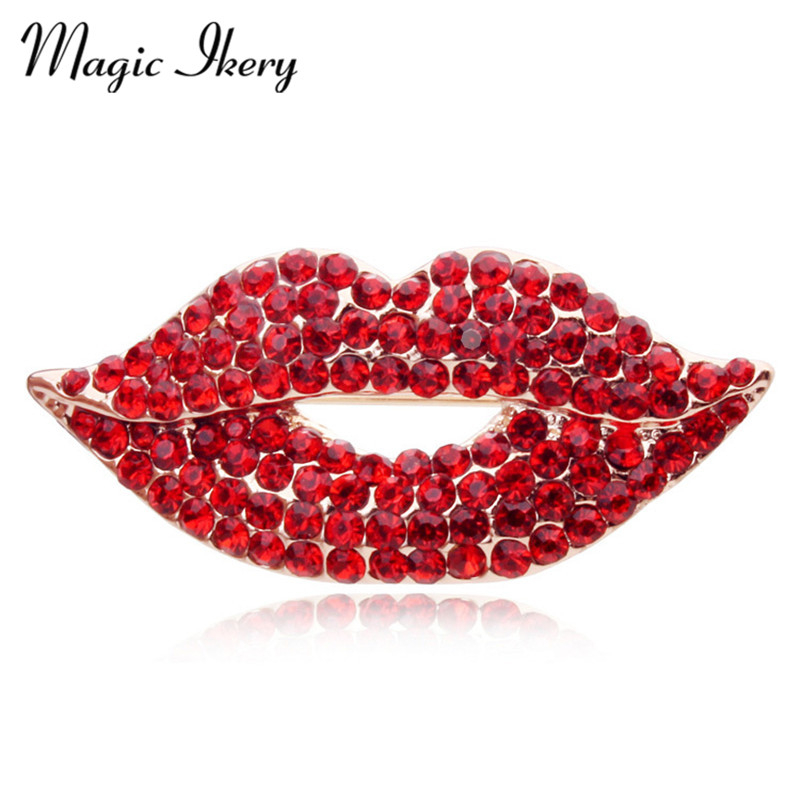 Magic Ikery Rose Gold Color Zircon Crystal Luxury Lips Broches Joyas de moda al por mayor para mujeres MKY5549
