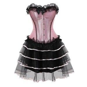 Image 2 - Sexy lace corsets for women plus size costume overbust vintage corset dress set tutu corselet victorian corset skirt Pink