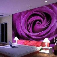 Groothandel 3d muurschildering paars rose muurschildering sofa romantische slaapkamer 8D muurschildering papel de parede bloem foto muurschildering wandbekleding
