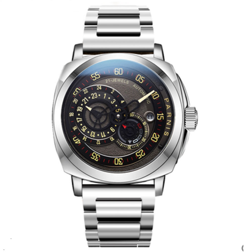 Luxury 44mm PARNIS Sapphire Glass black Dial Calendar MIYOTA relogio masculino watches top brand automatic mechanical Mens WatchLuxury 44mm PARNIS Sapphire Glass black Dial Calendar MIYOTA relogio masculino watches top brand automatic mechanical Mens Watch