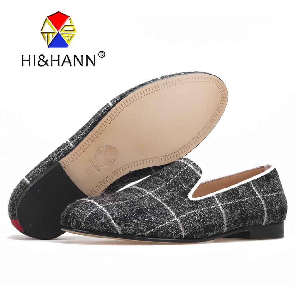 New arrival mixed color Gingham men handmade shoes with Genuime leather insole and bottom Banquest and Weeding male loafers