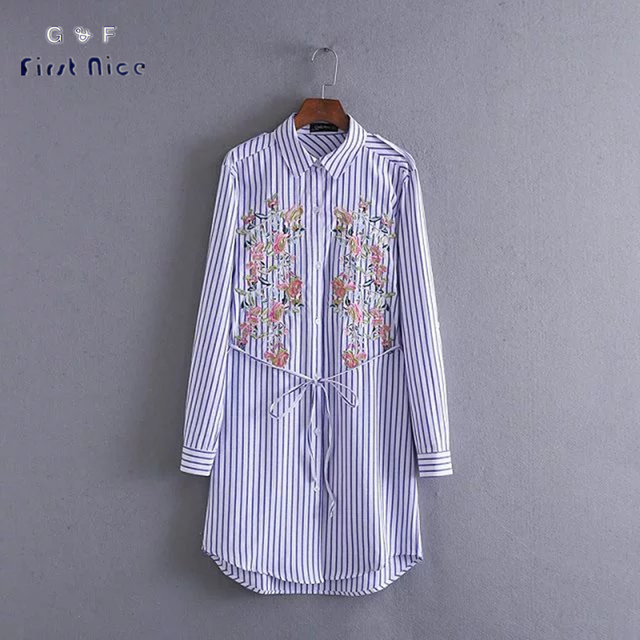 Women Long Blouses 2016 New Autumn Spring Blue & White Striped Flower Embroidery Cotton Shirts Belt European Casual Button Tops