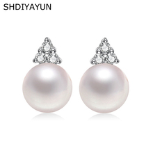 SHDIYAYUN Pearl Earrings Triangle Freshwater Princess Style Silver Stud Jewelry Accessories Diamond