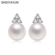 SHDIYAYUN Pearl Earrings Triangle Freshwater Pearl Princess Style Silver Stud Earrings Jewelry Accessories Diamond Earrings(China)