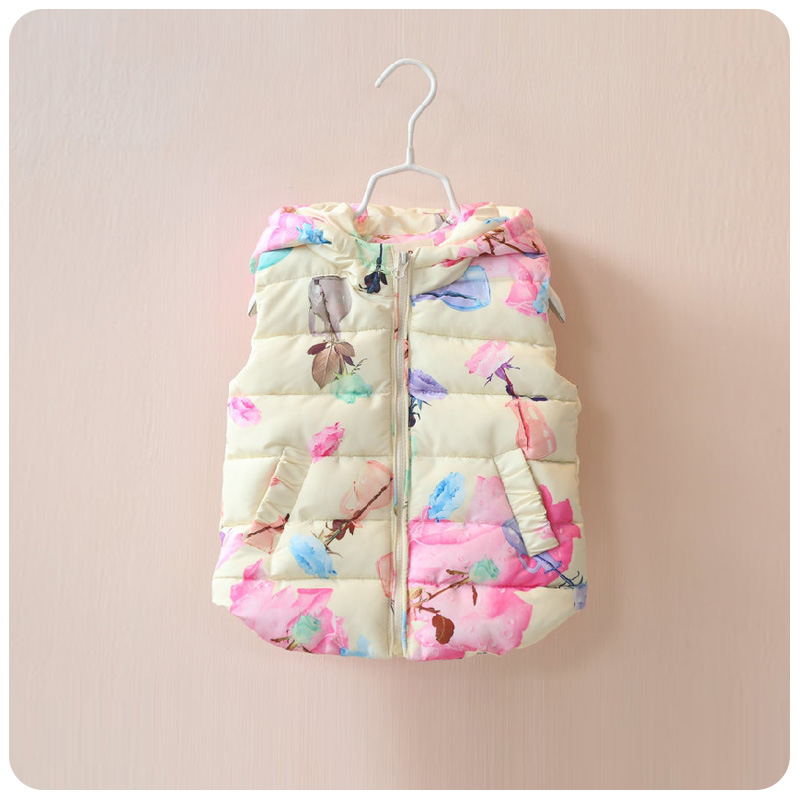 Autumn Winter Baby girls vest boys Waistcoat Flower Printing Children Girl Vest Down Coat Sleeveless Pink Small Kids Cotton vest