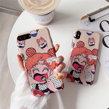 Cartoon beautiful girl snack phone case For iphone XS MAX XR X cute soft shell TPU For iphone 6 6s 7 8plus protective back cover cute cartoon bee style protective tpu back case for iphone 5 yellow black white