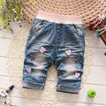 Selling 2016 summer models cartoon mini jeans children girls fashion jeans points girls pant