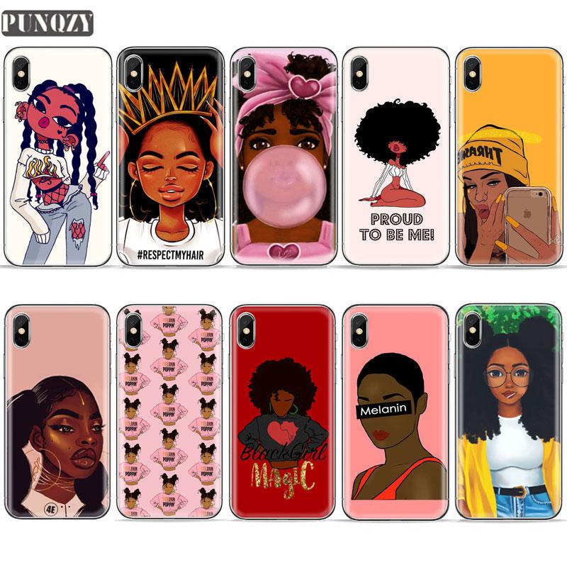 Black Girl Melanin Poppin Queen art phone Case For iPhone 7 6s 8 Plus 5S SE X XR XS MAX Magic