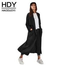 цена HDY Haoduoyi Fashion Slim Basic Coats Women Long Sleeve Female Brief Style Longline Outwear Turn-down Collar Casual Trench Coats