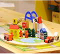 40 pcs/box Wooden urban rail overpass traffic scene combination toys wooden train track disassembly Educational toy