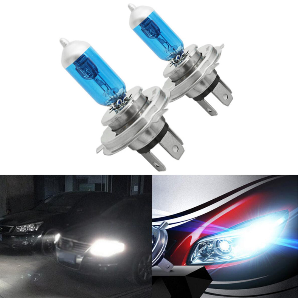 Einszett 2pcs H4 Halogen Lamp 12V 55 100W Car Halogen Bulb Dark Blue Super White Headlight