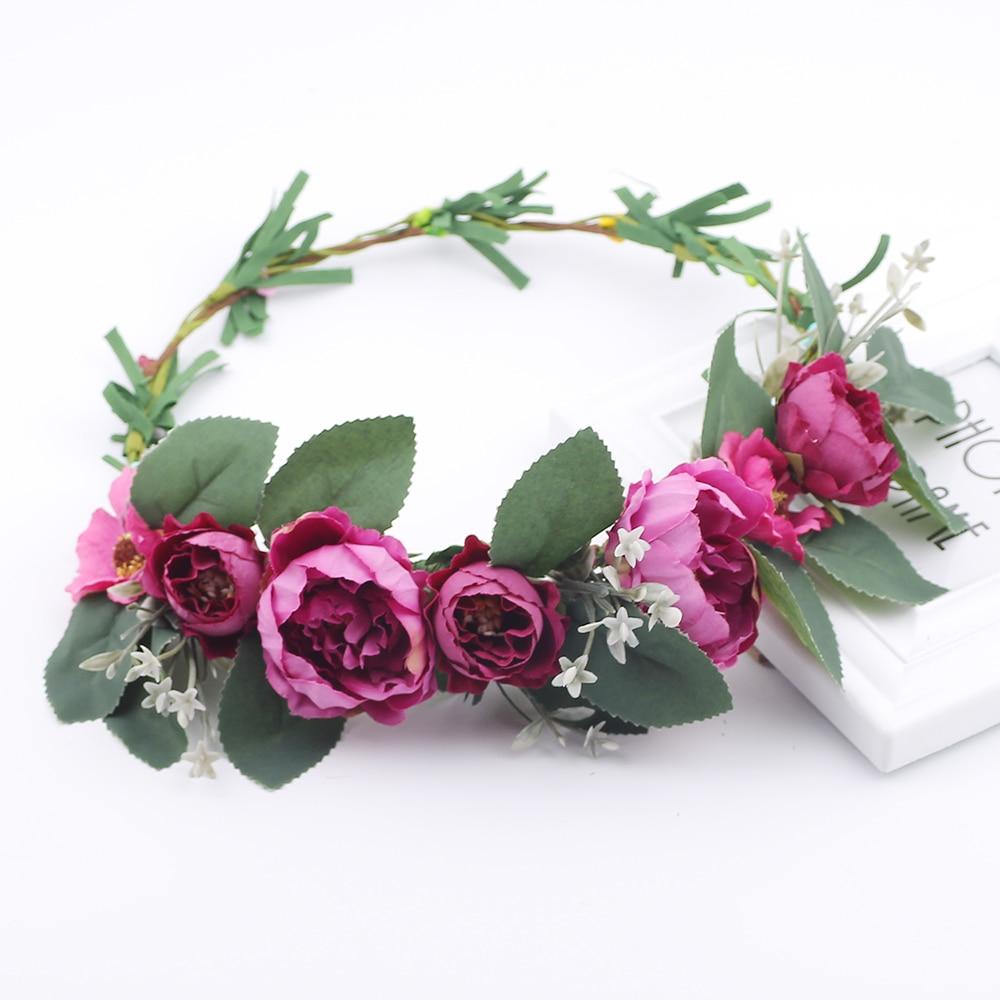 Purple Flower Garlands For Hair Woman Head Wreath Flower Crown