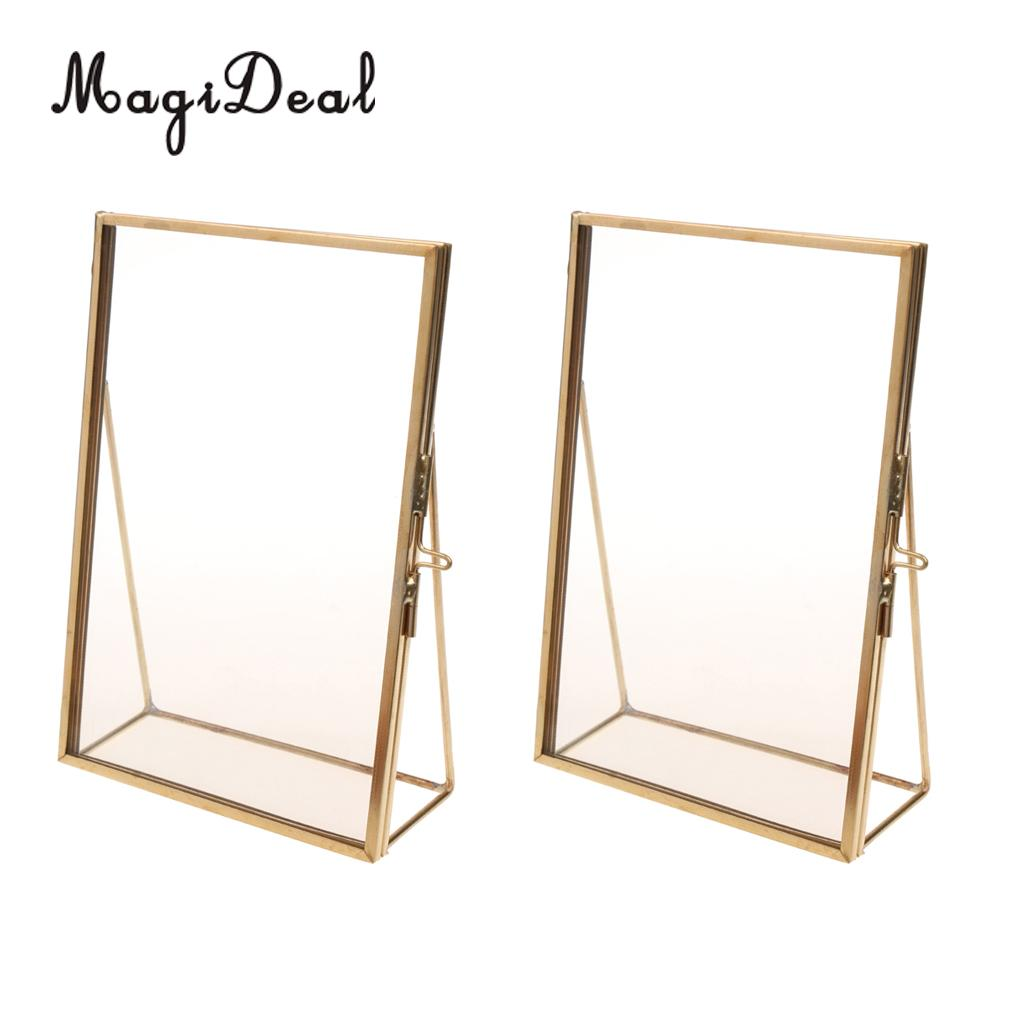 Pack Of 2pcs Antique Gold Brass Glass Freestanding Photo Picture