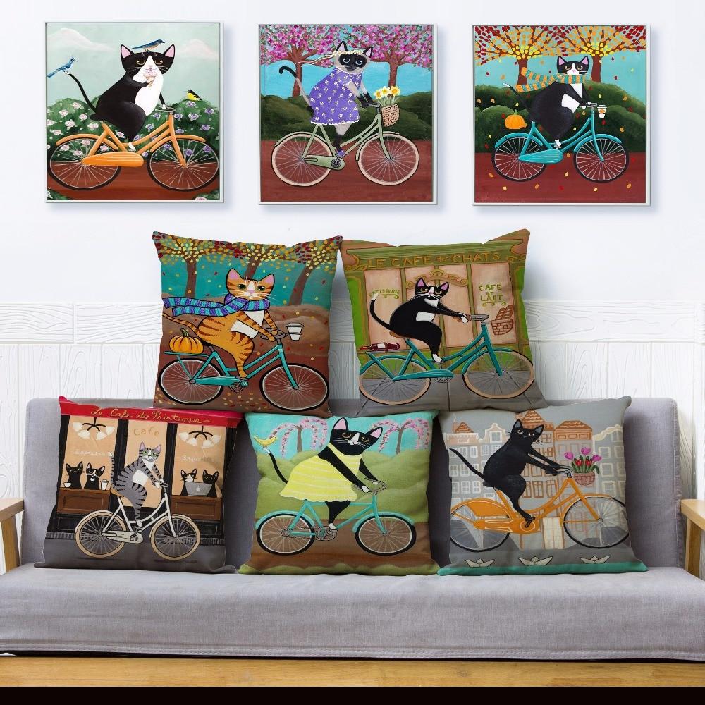 Ryan Conners Cute Ride Bike Cat Print Pillow Cover 45 45 Cushion Cover Linen Throw Pillows