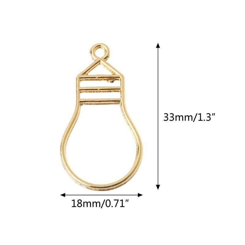5 個ゴールド電球樹脂ブランクフレームペンダントオープンベゼル設定樹脂ジュエリーメイキング