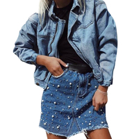 Women Denim Skirt Pearl Beading Jeans Skirt Female Irregular High Waist Pocket Button Denim Skirts Casual