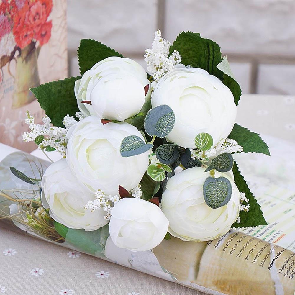 Home Decor 5 Heads Tea Roses Bunquet Fake Vivid Silk Camellia