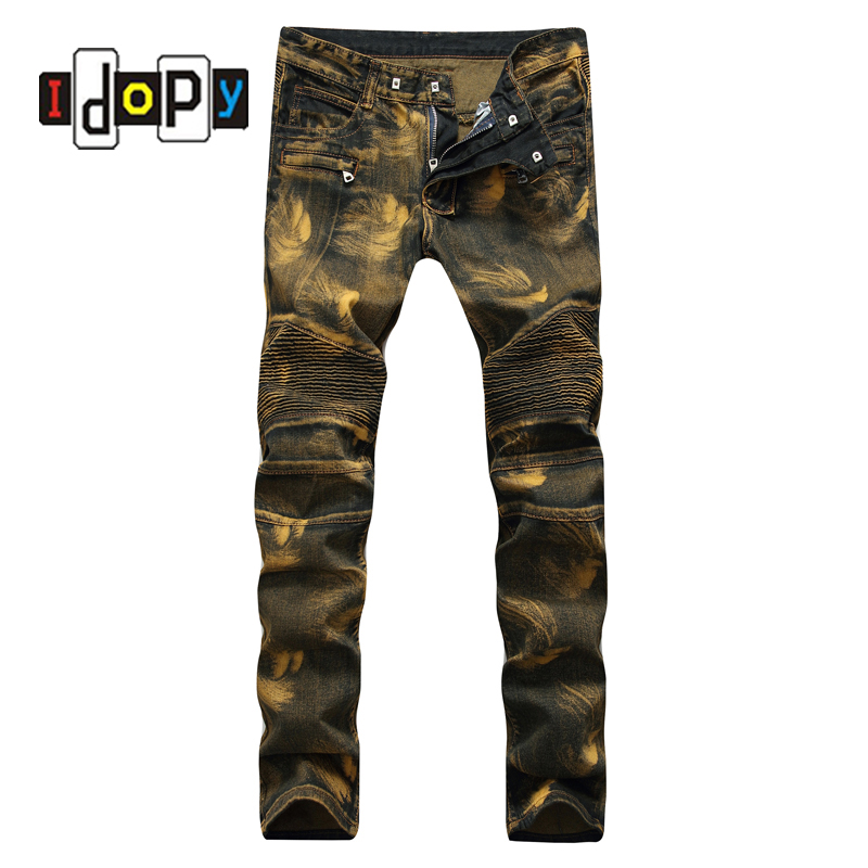 Fashion Vintage Mens Ripped Biker Jeans Pants Slim Fit Pleated Hip Hop Motorcycle Denim Joggers Male Streetwear Jean Trousers fashion brand designer mens torn jeans pants hi street ripped denim joggers gray distressed jean trousers man streetwear lq076