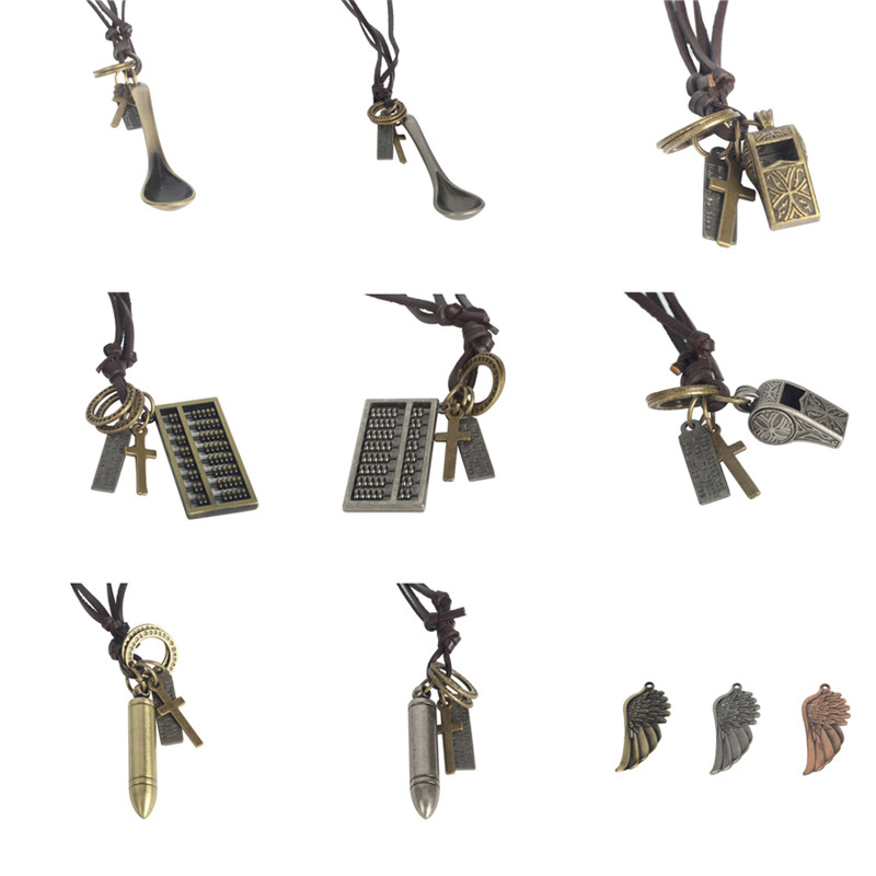 NK MIXTOS Vintage Fashion Man Woman Leather Necklace Long Sweater Chain Pendant Charm Jewelry Necklace Accessories Tool Parts