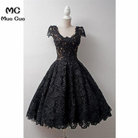 Elegant 2018 Black Graduation Homecoming Dresses Lace Short Sleeves Wedding Party Dress Prom Gown Homecoming Cocktail Dress