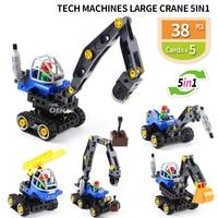 Tech Machine Large Crane 5in1 Technic DIY Building block Bricks fit legoed Duploed Educational kids Toys Children gift