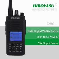 DMR Digital Walkie Talkie HIROYASU D80 DMR UHF 400 470MHz 1000CH 5W Digital PORTABLE TWO WAY Radio