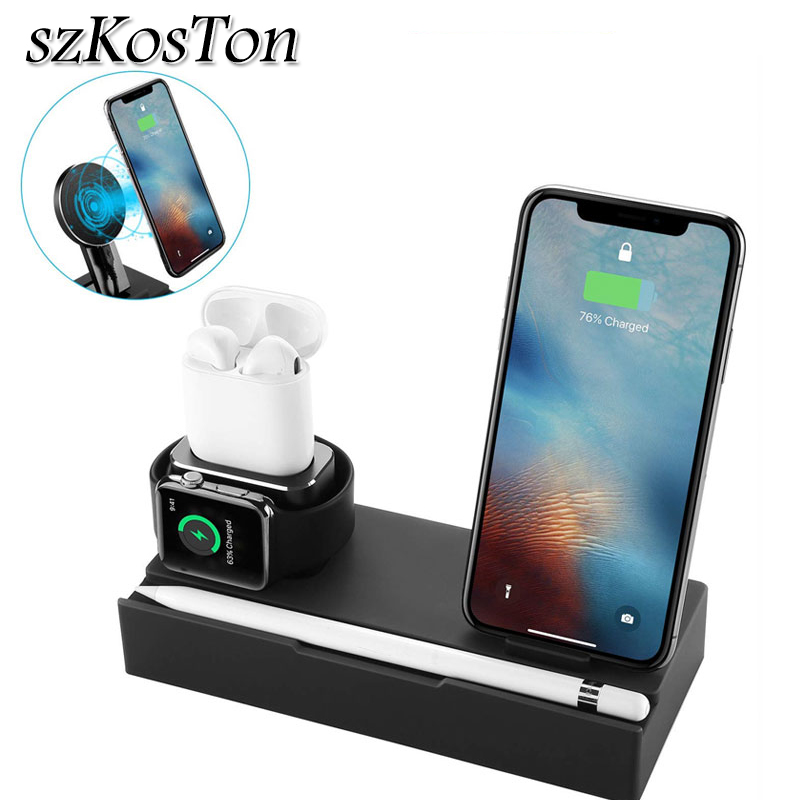 4in1 QI Fast Wireless Charger Pad For iPhone Samsung USB Charger Dock For Apple Watch Airpods Desk Holder Stand For Apple Pencil4in1 QI Fast Wireless Charger Pad For iPhone Samsung USB Charger Dock For Apple Watch Airpods Desk Holder Stand For Apple Pencil