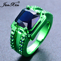 JUNXIN Male Female Blue Geometric Ring Green Gold Filled Jewelry Vintage Party Wedding Rings For Men And Women New Year Gifts