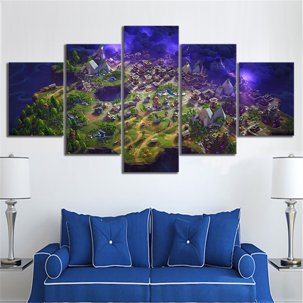 5 Piece Fortnight Battle Royale Map Video Game Poster Fort
