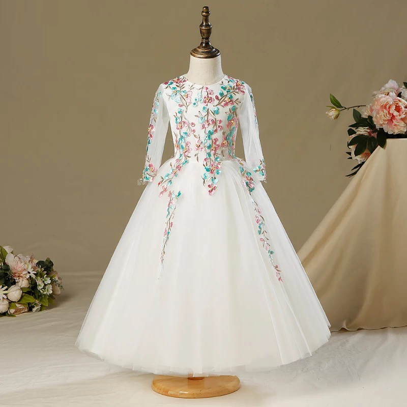 Children's Embroidery Flowers Dresses Infant Party Costume For Kids Girl Pageant Dance Ball Gown Princess Prom Birthday Dress