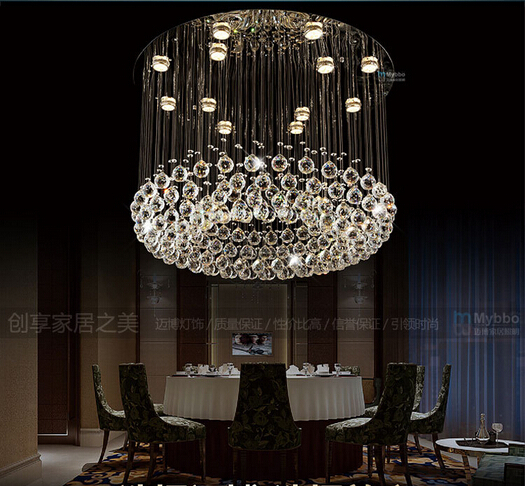 Fashion Modern Luxurious Round Dia60 80 Crystal Led Pendant Lamp Parlor Hotel Entrance Foyer Chandelier