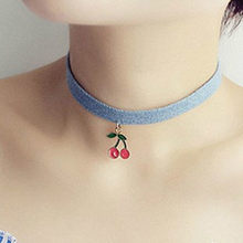 New Fashion Blue Ribbon Cherry Trendy Sexy Hollow Flower Pendant Water Drop Chokers Necklace Collar Jewellry Women Jewelry(China)