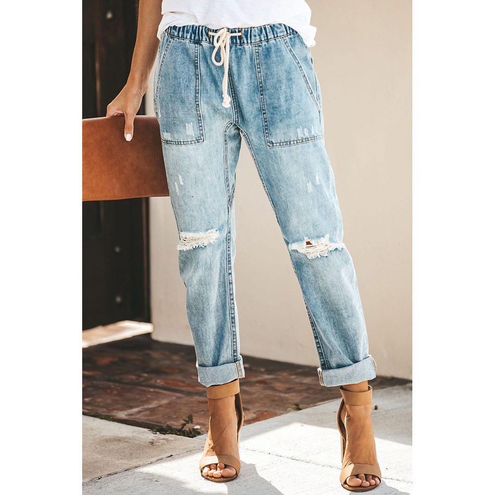 Gather Round Distressed Pocketed Denim Jogger Fit With An Elastic Drawstring Waist