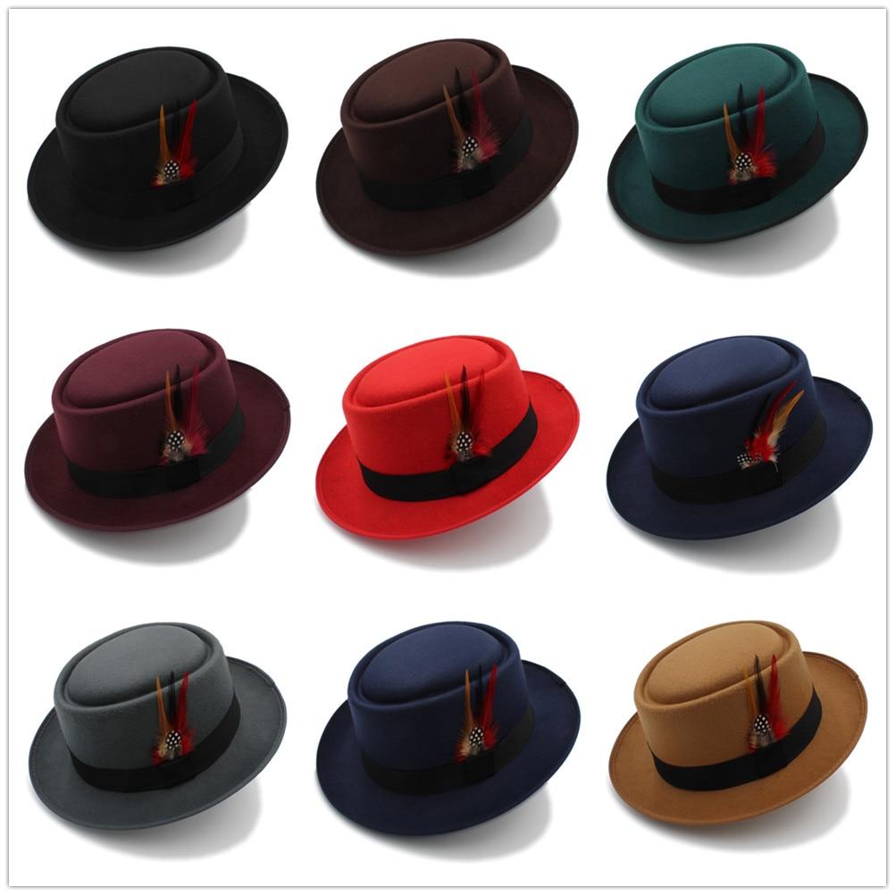 Fashion Women Men Pork Pie Hat Dad Wool Flat Fedora Hat Lady Gentleman Gambler Panama Trilby Hat With Fashion Feather Size 58CM 6