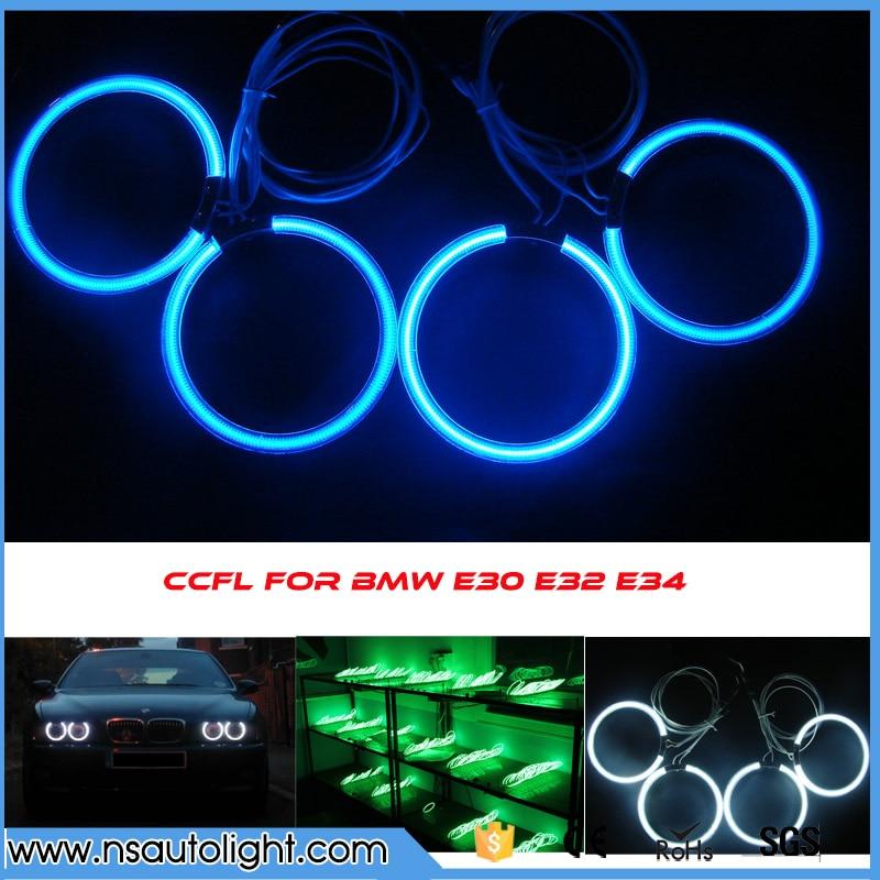 Горячий продавать Е30 е32 освещения CCFL ангел глаз CCFL гало кольцо автомобиль лампы фар комплект красочные фары кольцо для BMW е34