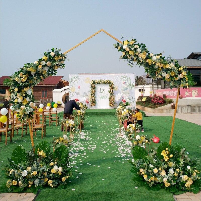 Flone 100 cm haute qualité Rose artificielle soie fleur rangée pour arc de mariage fond mur fête accessoires décoration fleur Art maison