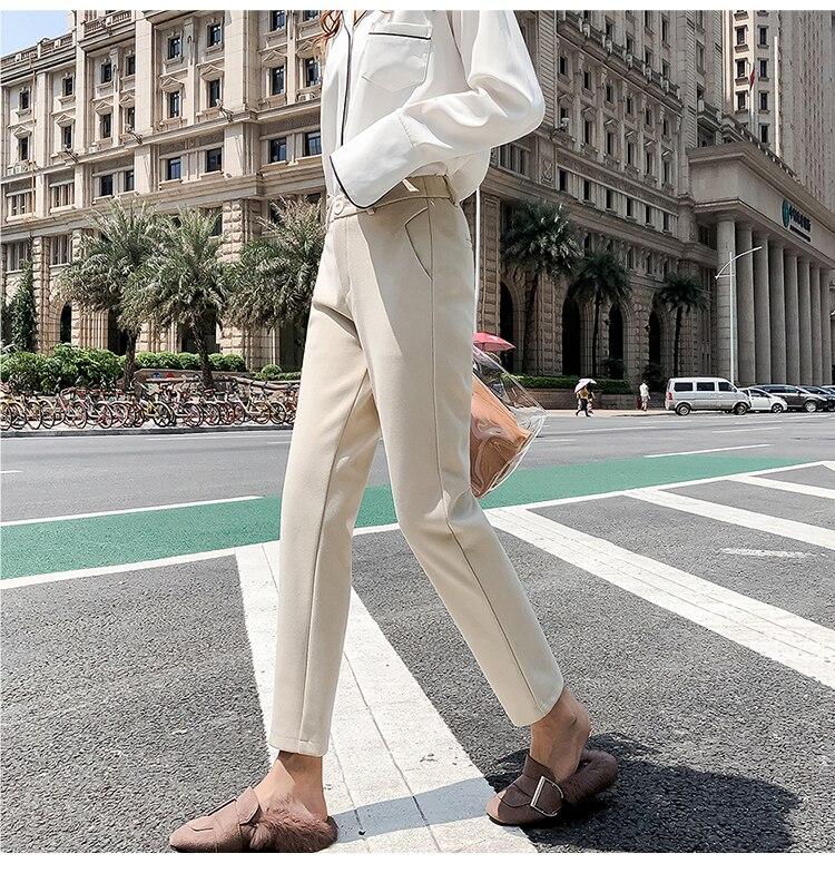 19 Autumn New Women Elastic Woolen Pant Female Plus Size Casual Trousers Black/Gray Harem Pants Winter Wool Ankle-Length Pants 20