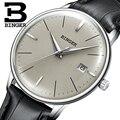 Швейцарский бренд BINGER мужской кожаный ремешок автоматические механические мужские самопродуваемые сапфировые простые ультратонкие часы