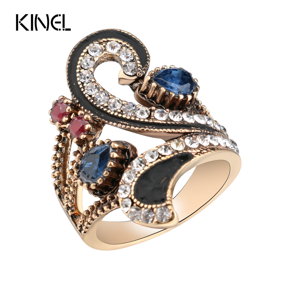 Hot Vintage Ring For Women Farge Gull Punk Tyrkisk Smykker Fargerik Resin Svart Emalje Ring Party Gaver Tilbehør 2017 Ny