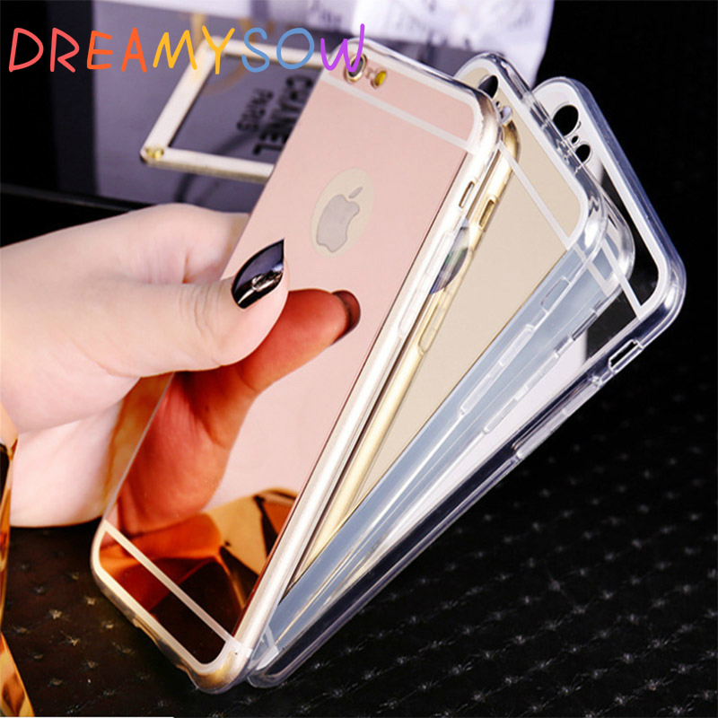 DREAMYSOW New Soft TPU Mirror-Effective Back Cover For iphone 4 4S 5 5S SE 6 6S Plus 7 Plus X TPU Shell Back Cover Cases