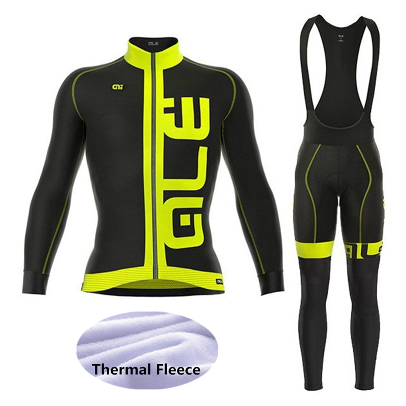 2018 ALE Cycling Jersey Winter Long Sleeve Bicycle Thermal Fleece Ropa Ciclismo Invierno MTB Bike Clothing Mens Riding Suit Set