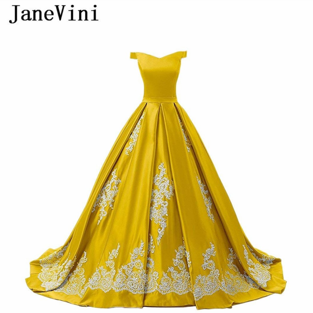 JaneVini Charming Gold Yellow Long Bridesmaid Dresses with Lace Applique Off the Shoulder Satin Prom Gowns Ball Gown Sweep Train