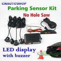 LED Display 4 Sensors No Hole Saw Drill Car Parking Sensor Kit 22mm 12V 7 Colors