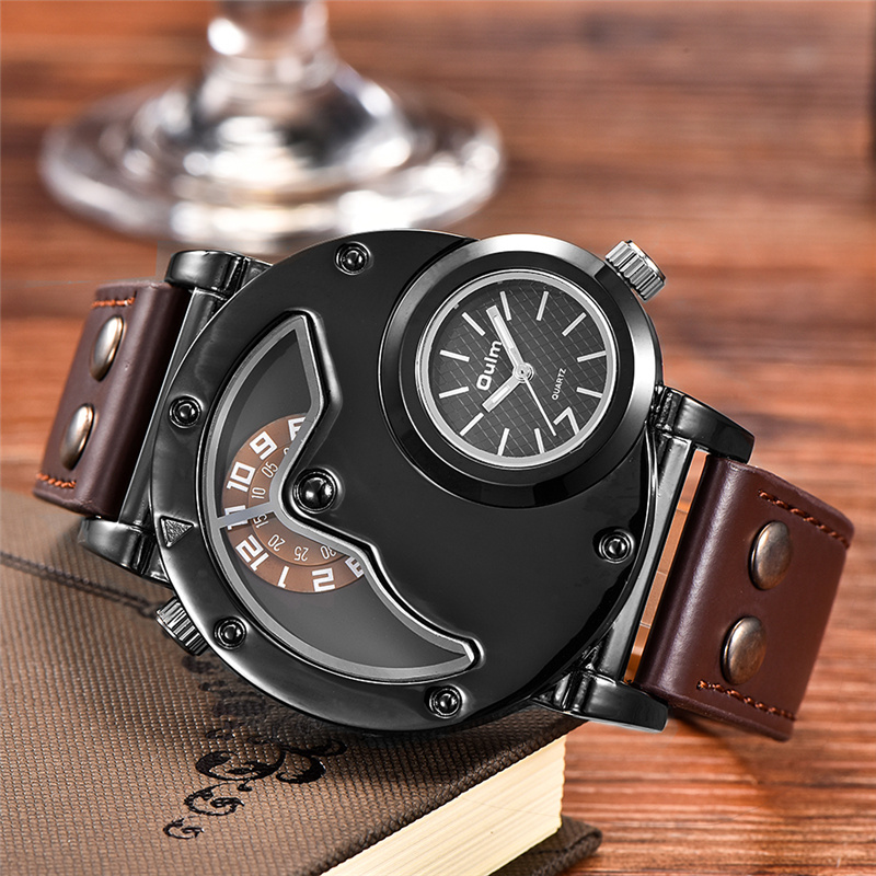Oulm Retro Men's Quartz Watches Top Brand Luxury Two Time Zone Wristwatch PU Leather Sport Male Clock relogio masculino oulm new arrive double time zone sports watches men luxury brand pu leather big wristwatch male quartz watch relojes hombre