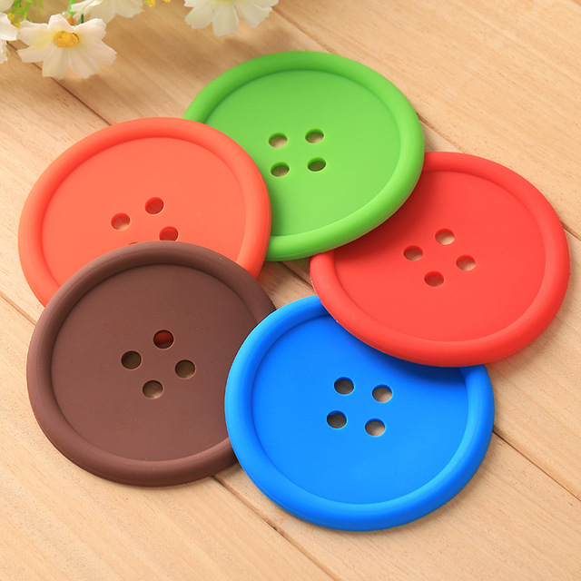 4pcs/set Round Button Silicone Coaster Coffee Table Cup Mats Pad ...