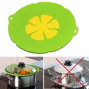 Silicone lid Spill Stopper Cover Pan Flower Cookware