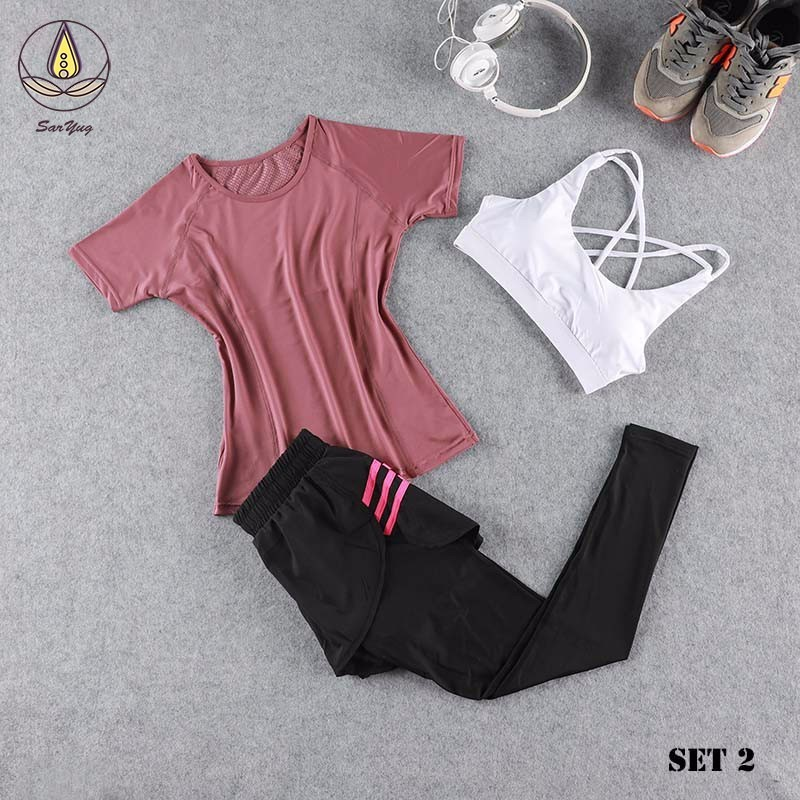 New 3Pcs Seamless Yoga Top Women Sportwear Vest Gym Girl Leggings Sport Pants Running Brassiere Up Lift Fitness Clothes Trousers