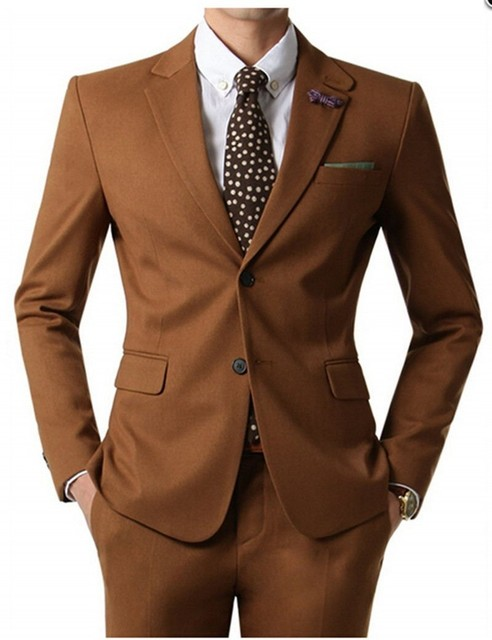 Slim Fit Groomsmen Notch Lapel Groom Tuxedos Brown Mens Suits Wedding Best Man (Jacket+Pants) B756