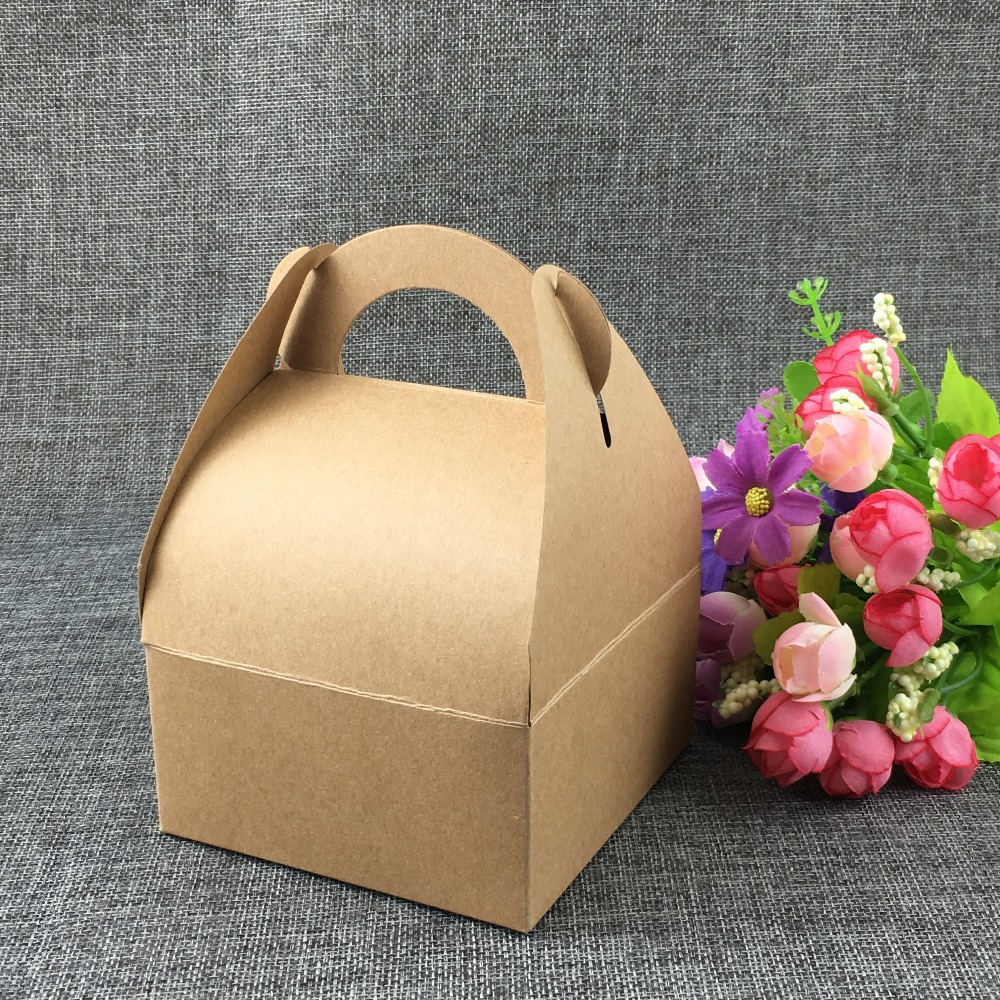 50PCS Brown Bread Boxes Kraft Western-style pastry Blank Gift box with handle baking cake Packaging Boxes for Gift/Jewelry/Candy